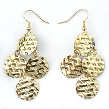 333567-Woven Medallion Chandelier Earrings