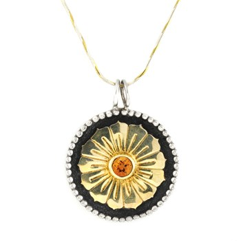 Roulette 18 Daisy & Citrine Gold Plated Pendant