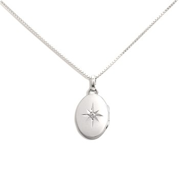340450-Lovely Locket Small Silver Oval Necklace