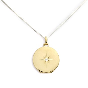 340463-Lovely Locket Medium Gold Round Necklace