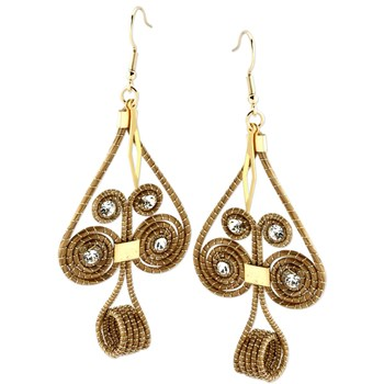 345169-Woven Golden Grass Earrings