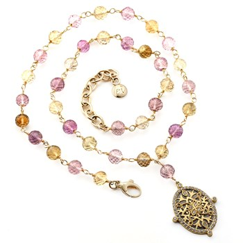 "349270-Elisa Ilana ""Highborn"" Amethyst & Citrine Necklace"