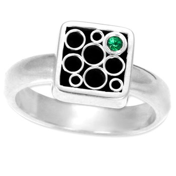 Belle Brooke Green Tsavorite Square Ring