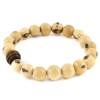 Stone Salutations Acai & Carved Wood Bracelet