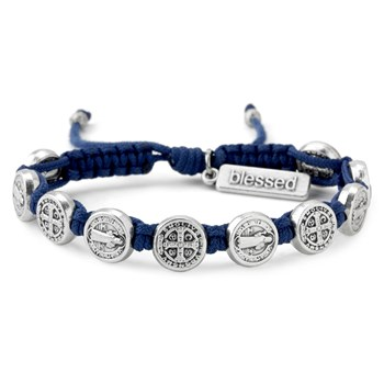 My Saint My Hero Blue & Silver Blessing Bracelet