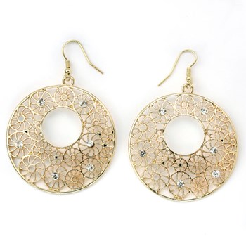 333572-Textured Round Gold Earrings