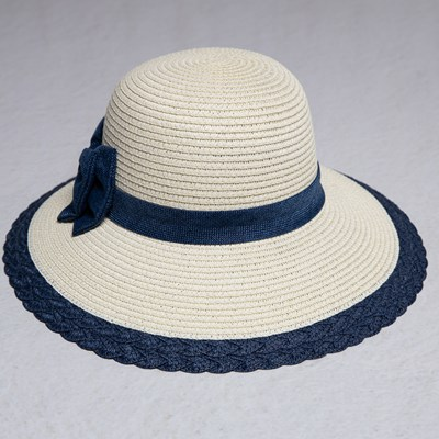 Women's Blue Bow Straw Hat