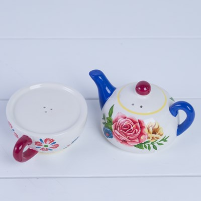 Floral Teapot Salt and Pepper Shaker Set