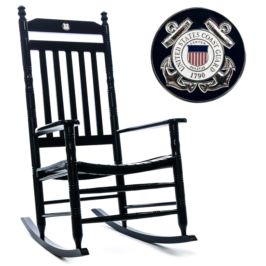Beau U.S. Coast Guard Fully Assembled Rocking Chair