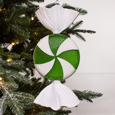 Oversized Candy Ornament - Green and White