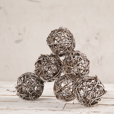 Decorative Frosted Twig Balls - Set of 6