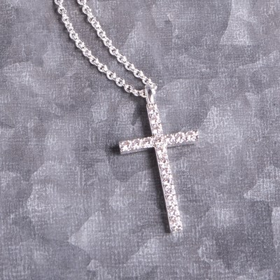 "Silver Cubic Zirconia Cross 18"" Chain Necklace"