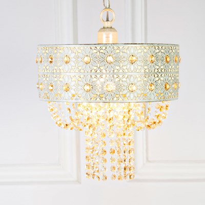 Jeweled Blossoms Plug-In Hanging Pendant Lamp