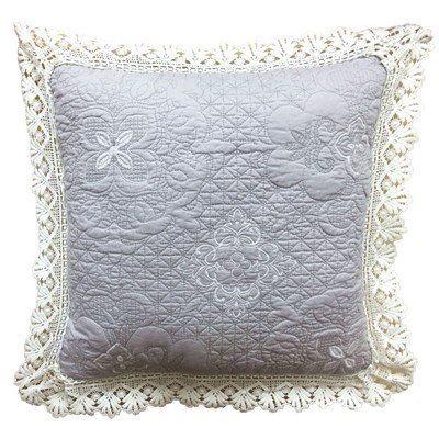 Tabitha Embroidered with Lace Decorative Pillow