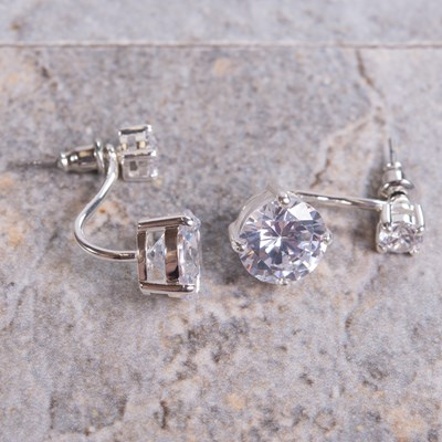 Silver Cubic Zirconia Stud Earring with Drop Jacket