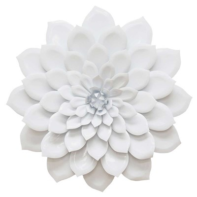 Hand-Painted Glossy Metal Flower Wall Decor