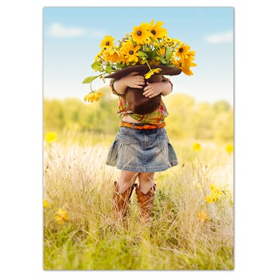 Girl Holding Hat of Flowers Greeting Card