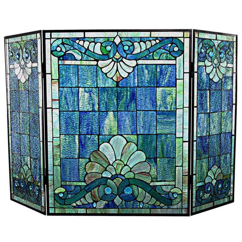 Tiffany Style Stained Glass Fireplace Screen Home Furniture
