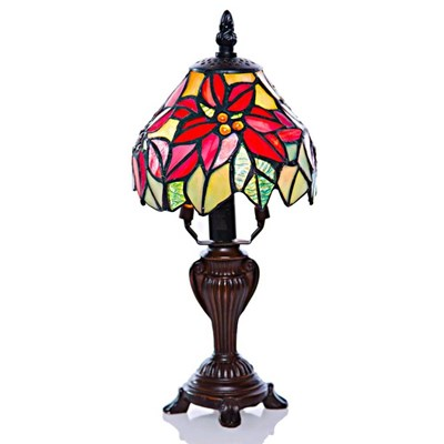 Tiffany Style Stained Glass Poinsettia Mini Accent Lamp