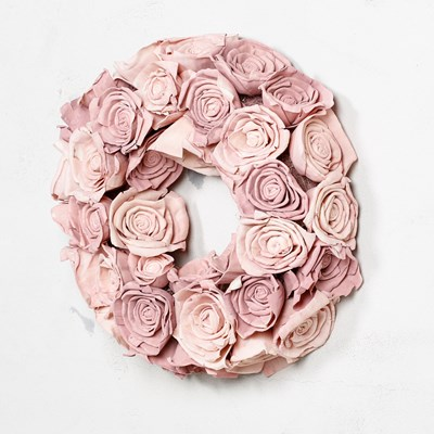 Dried Sola Pink Roses Wreath