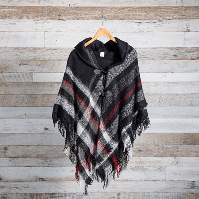 Red and Black Plaid Toggle Shawl