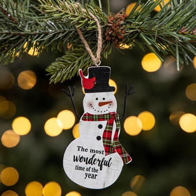 """Most Wonderful Time"" Snowman Ornament"