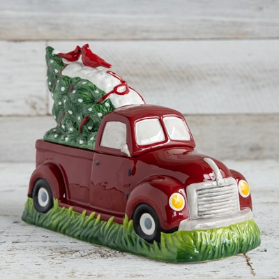 Stoneware Truck with Tree Cookie Jar