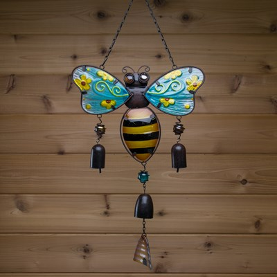 Metal and Glass Bee Wind Chime