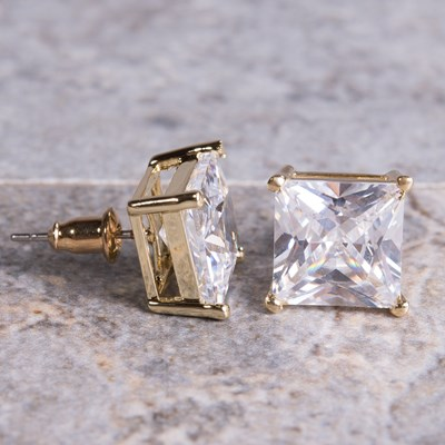 Gold Square-Cut Cubic Zirconia Stud Earring