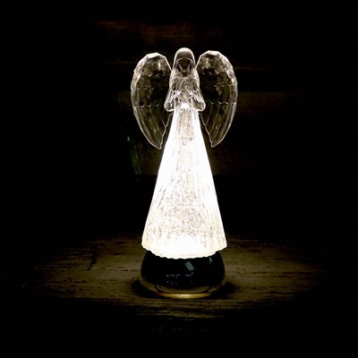Angel with Clear Wings Glitter Globe