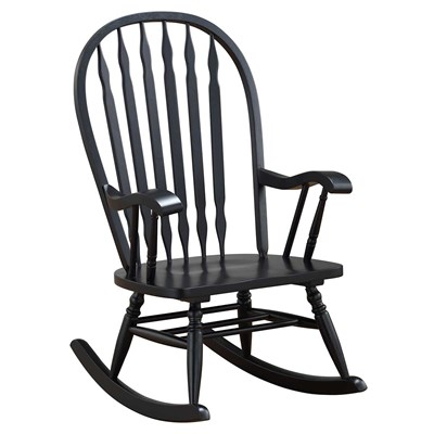 Classic Americana Style Windsor Rocker - Antique Black - Indoor Wooden Rocking Chairs - Cracker Barrel Old Country Store