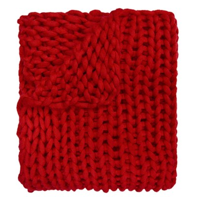 Chunky Knitted Throw - Red
