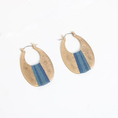 Blue Fiber Wrap Gold Hoop Earring