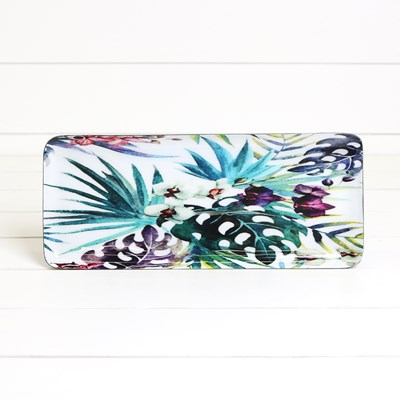 Floral Oblong Enamel and Metal Tray