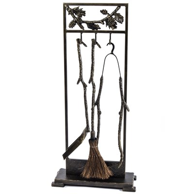 Iron Branch and Pinecone Fireplace Tool Set