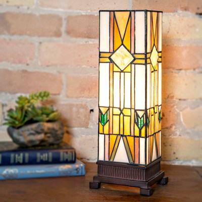 Stained Glass Mission Style Hurricane Accent Lamp