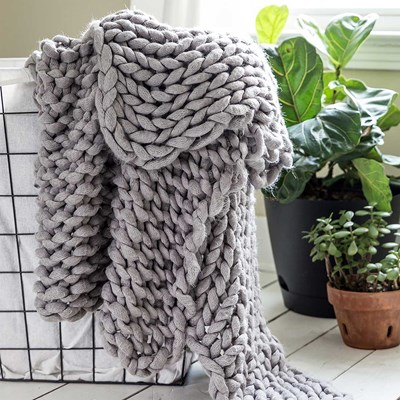 Chunky Knitted Grey Throw