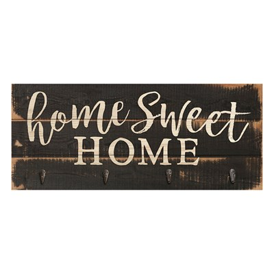 """Home Sweet Home"" Wall Decor with Hooks"