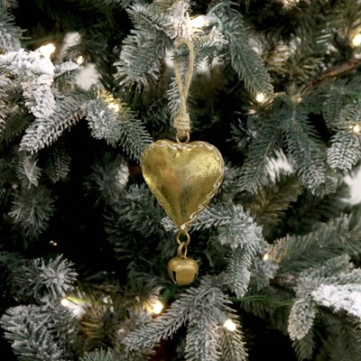 Gold Metal Heart with Jingle Bell Ornament