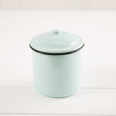 Decorative Enamelware Canister - Large