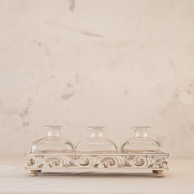 Glass Bottle Vase Set with Tray