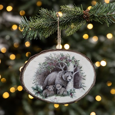 Wood Slice Ornament - Bear