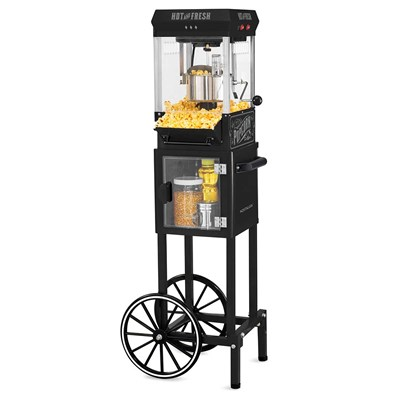 Vintage Popcorn Cart with 5-Quart Bowl
