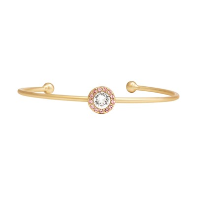 Swarovski Crystal Pink Halo Bangle Bracelet - 14K Gold
