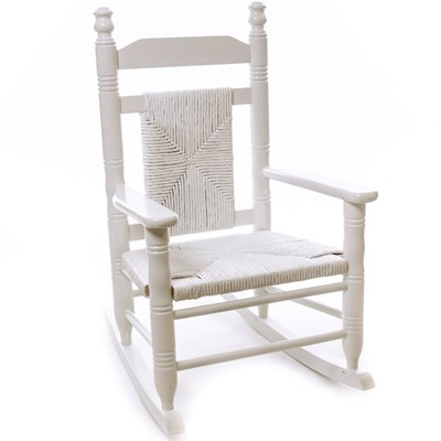 Child Woven Seat Rocking Chair - Pure White