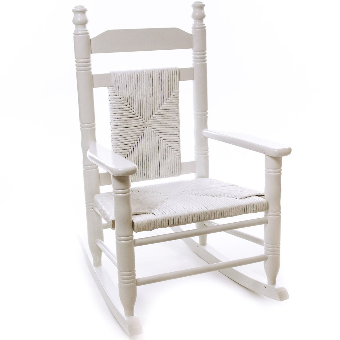 Child Woven Seat Rocking Chair   Pure White