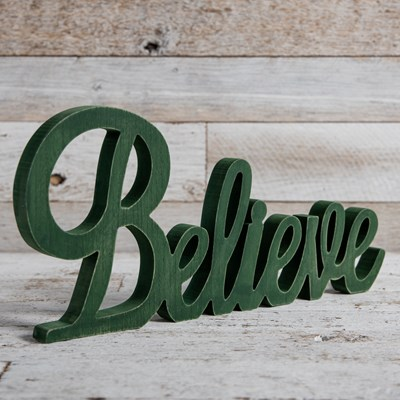 """Believe"" Wooden Word Sign"
