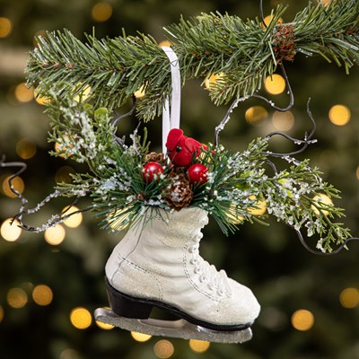 Ice Skate with Greenery Ornament