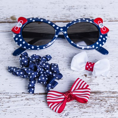 Navy Dot Sunglasses and Hair Set