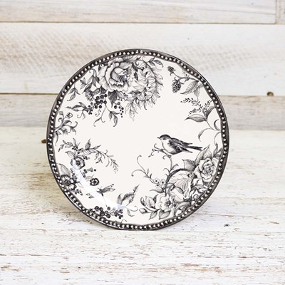 Stoneware Bird and Dragonfly Salad Plate